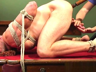 bondage Edged hunk gets his aggravation rimmed while tiedup bdsm