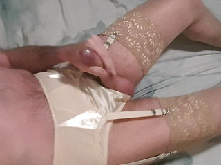 crossdresser (gay) Jerking wearing vintage lingerie amateur (gay)